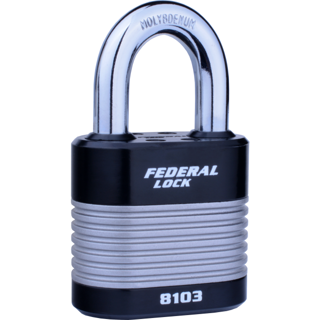 FEDERAL LAMINATED 50mm PADLOCKS 8103, 4 SHACKLE SIZES
