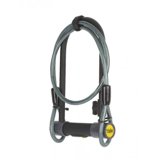 BIKE D-LOCK WITH CABLE SOLD SECURE SILVER